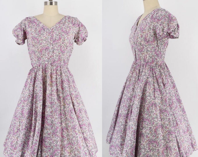 vintage 50s cotton dress size M / 1950s floral print circle skirt party dress AS IS 27""