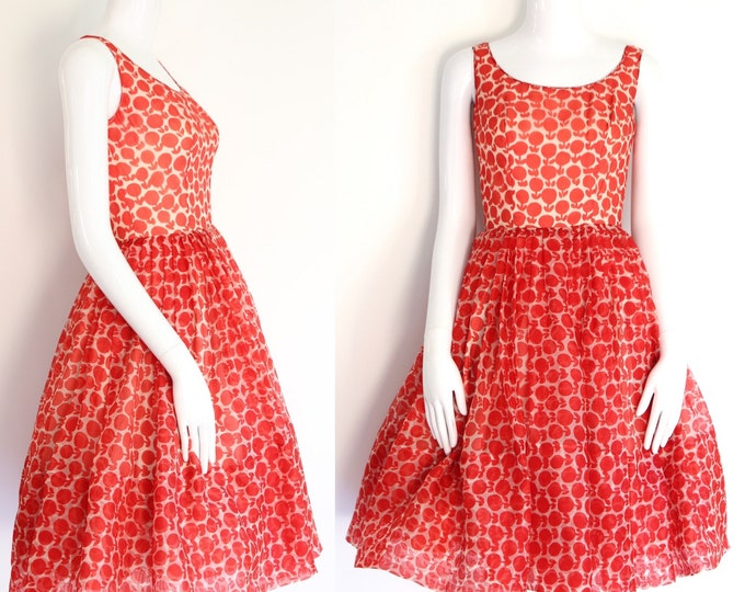 "1950s vintage novelty print dress 24"" / 50s apple cherry print organza summer party pin up dress sz 4"