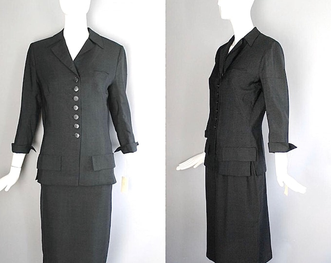 1950s IRENE Lentz mid century black silk subbed rayon classic pencil skirt museum tags RARE vintage