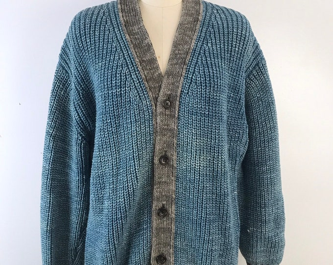 90s COMME Des GARCONS stone washed cotton knit cardigan SWEATER top 1990s vintage mens