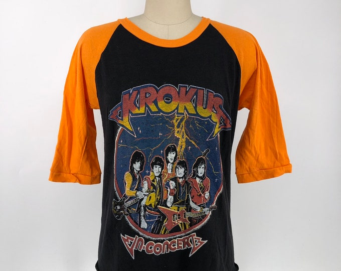 70s KROKUS band T shirt size M / vintage baseball jersey TOUR t shirt with great back print 1970s band concert rock