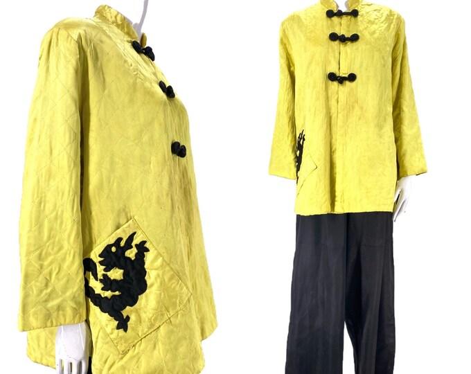 1950s satin lounge pajamas L / vintage 50s acid green trapeze jacket & black satin palazzo pants w/ DRAGON XL