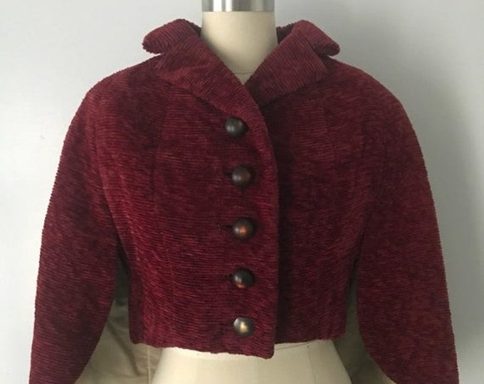"""25% OFF 50s CAPE in red chenille with unusual structured """"wing"""" design 1950s 60s vintage"""