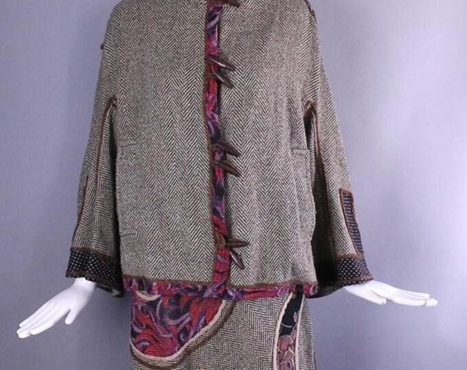 25% OFF 1970s KOOS Van Den AKKER herringbone wool patchwork art to wear folk skirt and tunic jacket Suit outfit medium m