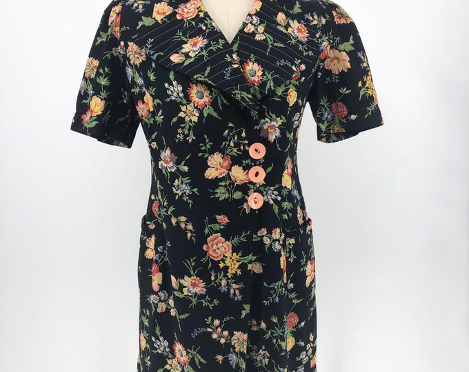 30s black floral print cotton over dress