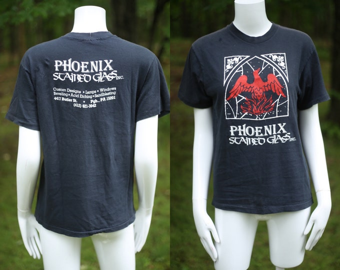 vintage graphic t shirt M / vintage 1980s phoenix stained glass medieval tee shirt