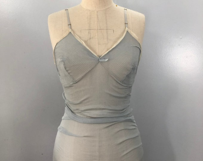 40s 50s SILK RIBBED pale blue lingerie step in romper TEDDY vintage 1940s 1950s Italy