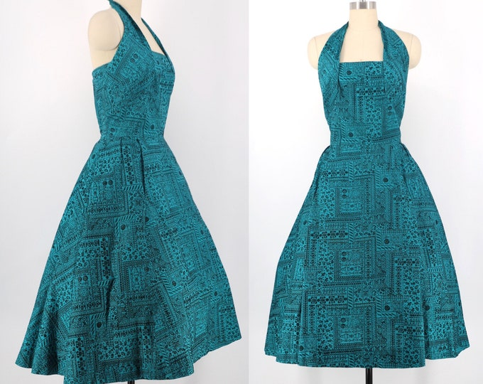50s flocked turquoise cotton party dress