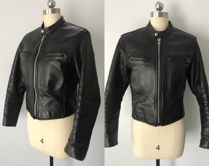 70s VANSON black leather motorcycle jacket / vintage 1970s bike cafe racer vintage JACKET 34 4 sz S