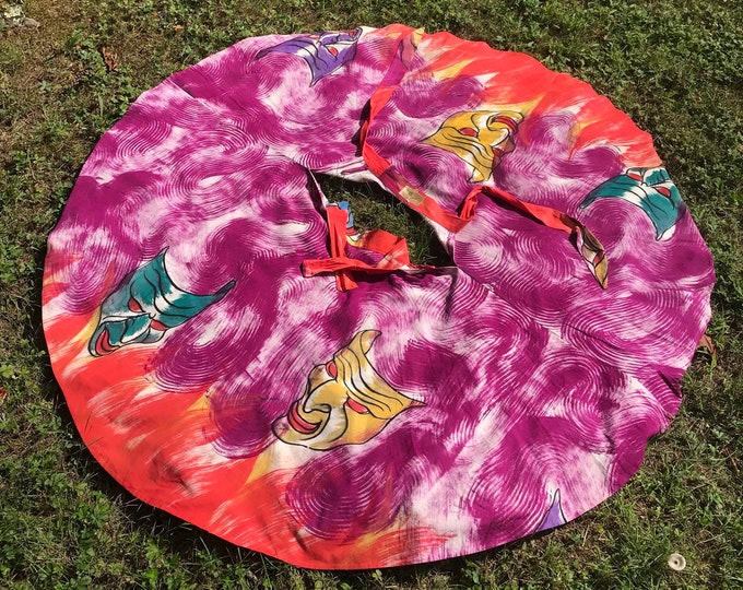 50s MEXICAN HELLFIRE hand painted devil mask print cotton circle skirt 1950s vintage