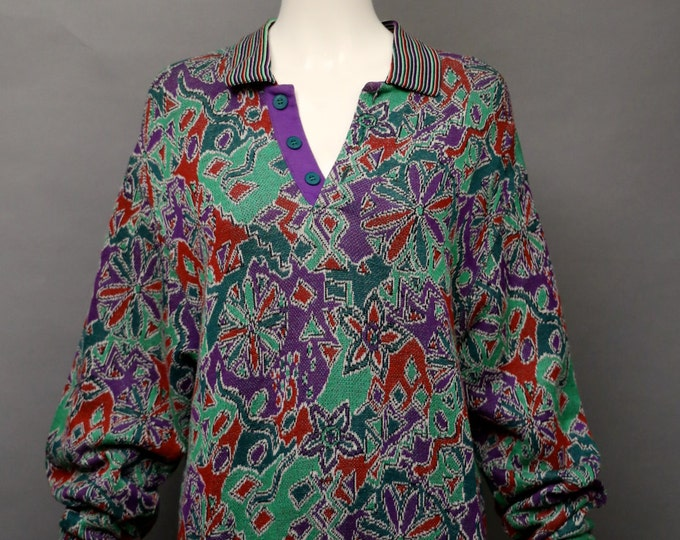 80s MISSONI Graphic Sweater Oversized Fit signature print knit too vintage 1980s