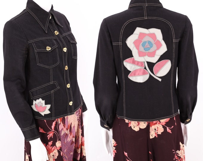 70s Roncelli Black Appliqued Brushed Cotton Jacket / vintage 1970s satin flower custom jacket sz 6 / S