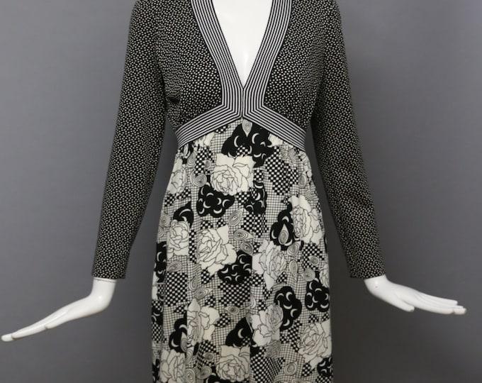 60s GOLDWORM mod op art floral crescent moon print b&w poly knit vintage dress 1960s m-l