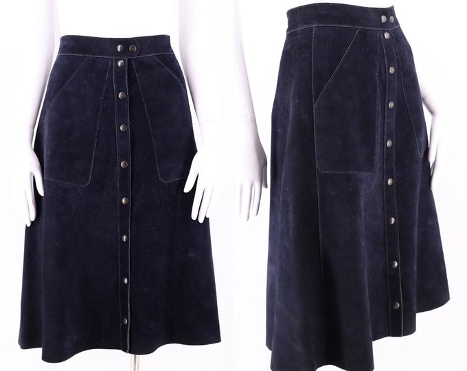 70s Navy Suede A line Snap Skirt  sz M / vintage 1970s hippy festival fall suede skirt
