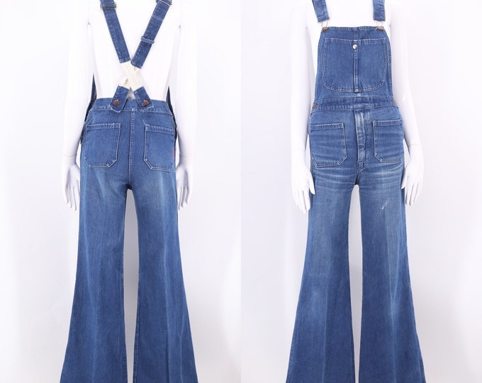 70s denim bell bottom overalls 28 / vintage 1970s JEAN MACHINE  jeans jumpsuit flared bottoms tight fit size 29