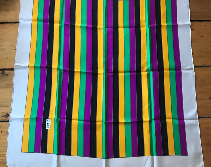 70s YSL Yves Saint Laurent multi stripe silk SCARF vintage 1970s 34.5