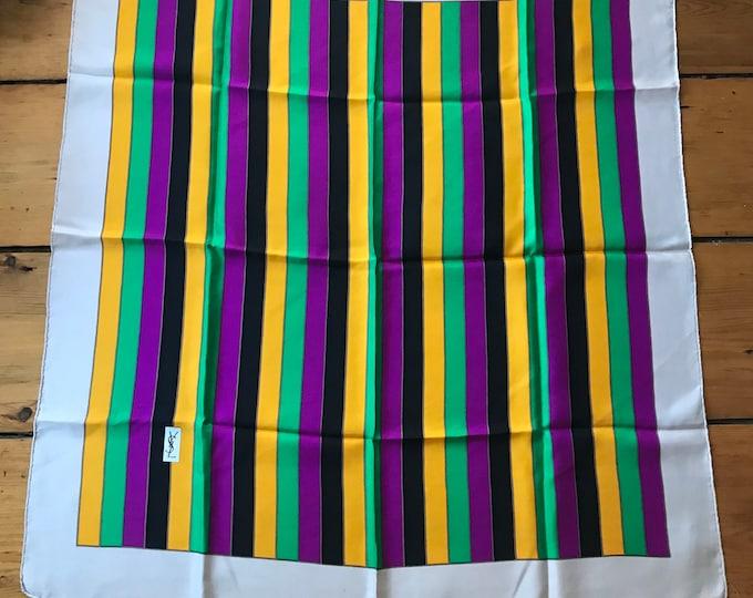 70s YSL Yves Saint Laurent multi stripe silk SCARF vintage 1970s 34.5