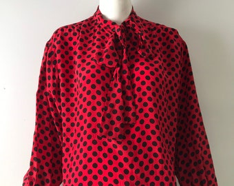 cf5742305a7 70s YSL silk polka dot print red & black BOW tie secretary BLOUSE top yves  saint laurent 1970s vintage 42 L