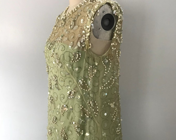 60s MALCOLM STARR pale green organdy silk heavily beaded column hostess GOWN dress vintage 1960s