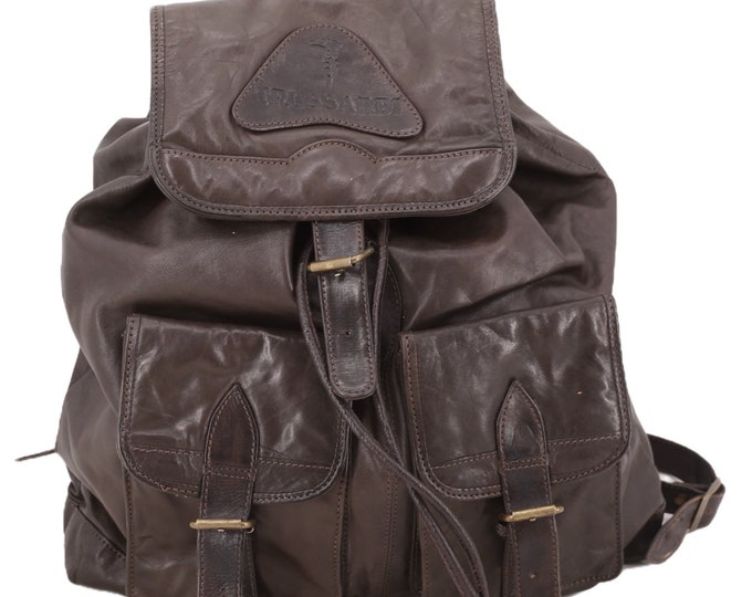 90s TRUSSARDI brown leather backpack / vintage 1990s designer Italian logo back pack purse
