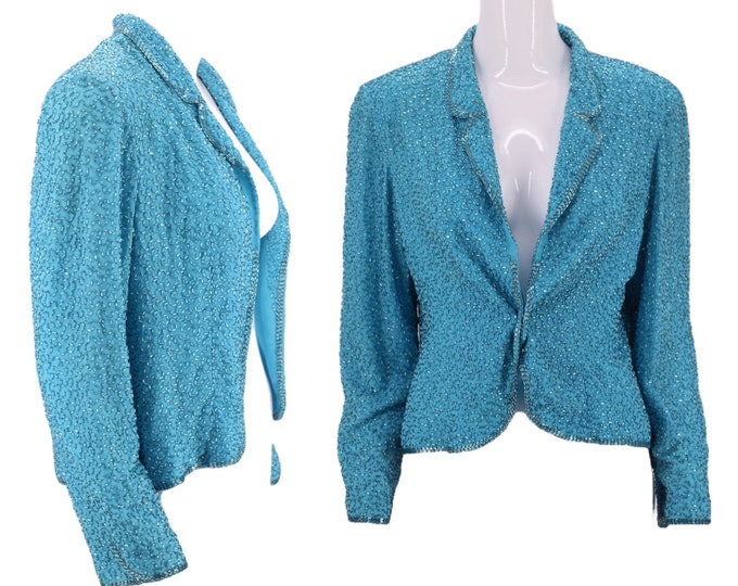 80s VICTORIA ROYAL chiffon beaded jacket S-M / vintage 1980s turquoise evening jacket / cocktail dress