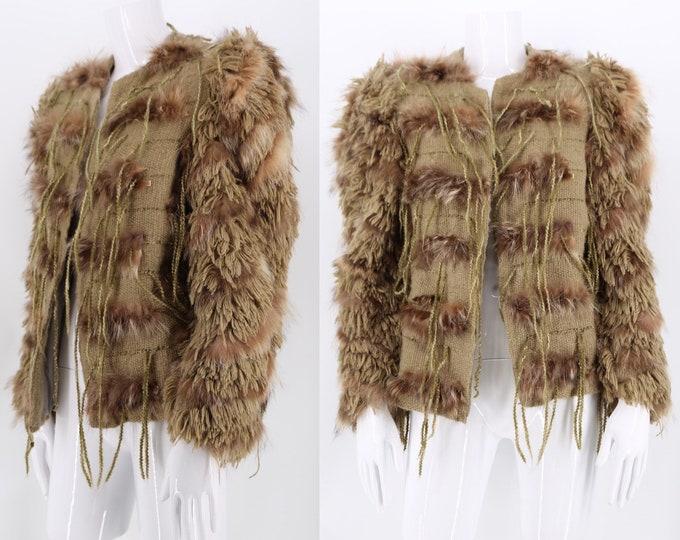 70s shaggy string coat / vintage 1970s alpaca wool & fur woven art to wear jacket M