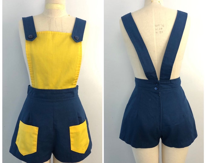 70s ROMPER hot shorts navy and yellow shortalls vintage 1970s 8