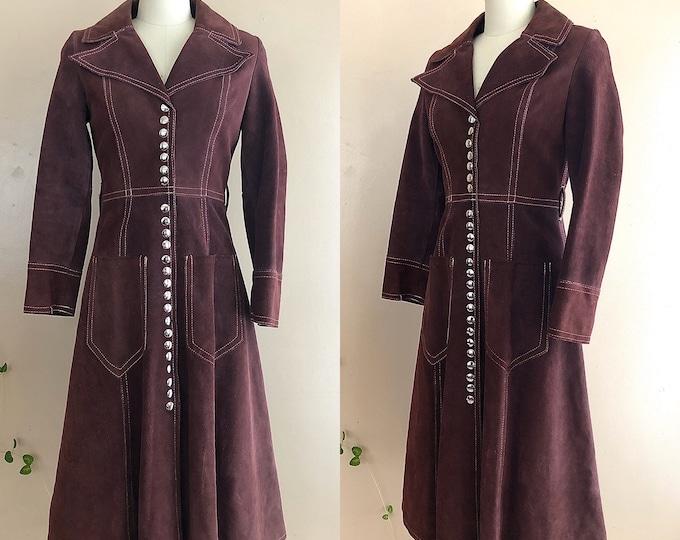 70s plum suede metal snap maxi coat / 1970s vintage Gassy Jack Woodstock era duster jacket coat size S