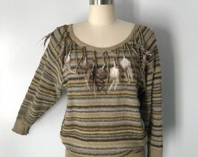 25% OFF 70s APROPOS feather trim lurex metallic stripe knit sweater vintage 1970s