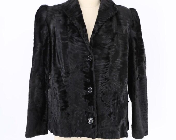 80s black BEN KHAN astrakhan fur