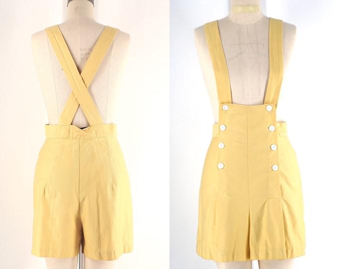 "40s rare romper overalls sz L / vintage 1940s pale yellow cotton sportswear overalls shorts 32"" waist"