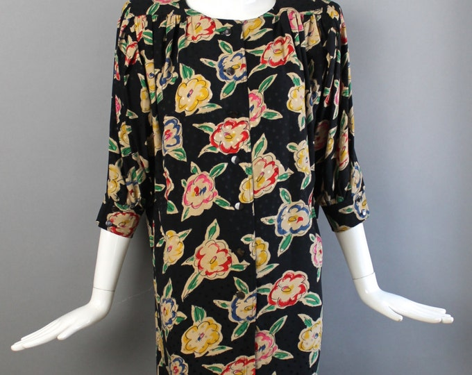 80s UNGARO dress floral polka dot print silk shift tunic strong shoulder size medium large 10 1980s