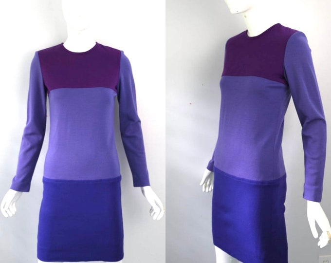 80s YSL Yves Saint Laurent colorblock wool knit purple shades sheath DRESS France designer 1980s vintage 36 6