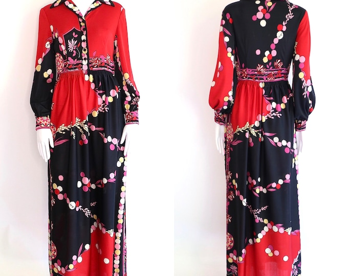 70s PAGANNE print maxi dress M / vintage 1970s red psychedelic signed print floral hostess gown sz M