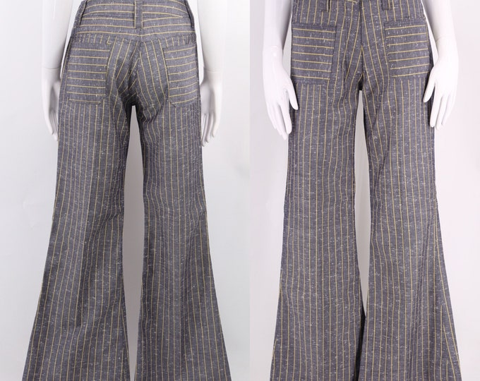 "60s striped bell bottoms pants 27"" / vintage 1960s yellow pinstripe slate blue flares sz 6-8"