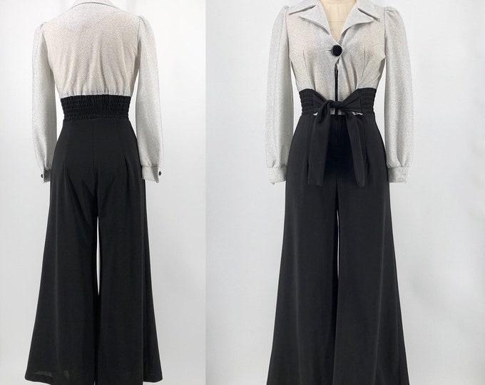 70s silver lurex bell bottom jumpsuit 8