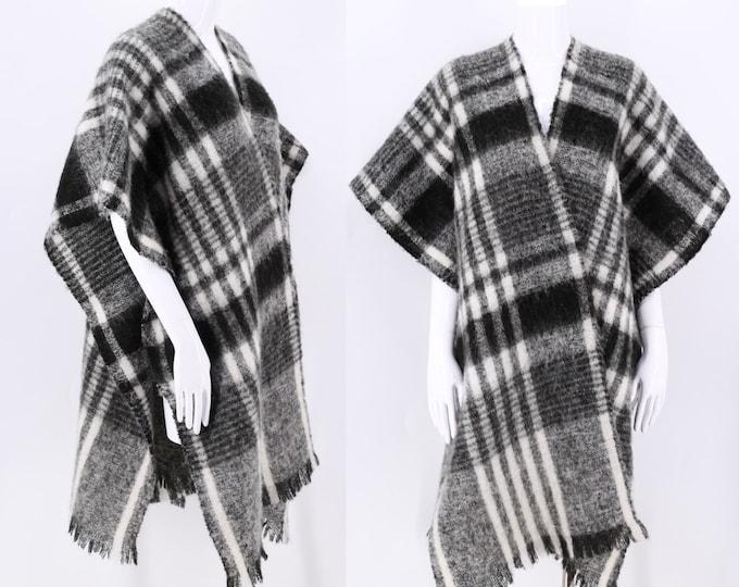 80s Plaid Mohair wrap shawl  / vintage 1980s black white wool winter scarf shawl