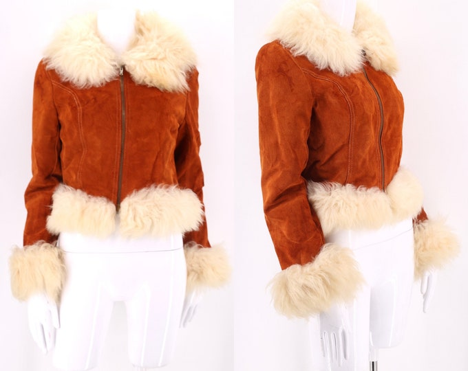 70s PENNY LANE rust suede & shearling trim jacket 6 / short cropped fur trim zip front coat sz S
