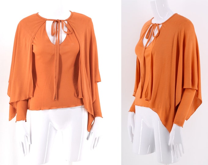 70s HOLLY HARP clementine silk jersey draped blouse / vintage 1970s Hollys Harp Stevie top sz S
