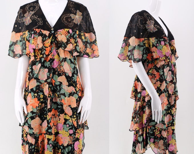80s HOLLY HARP floral silk chiffon dress sz m / vintage 1980s tiered fluttery metallic embroidered dress