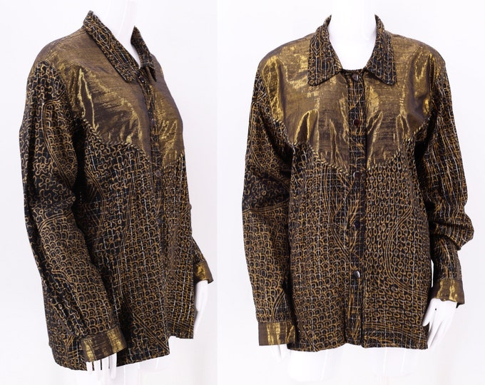 80s Nadya Metallic Gold Print Blouse m  / vintage 1980s lurex print tunic top M-L
