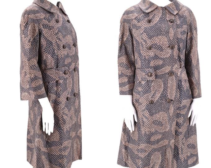 60s CHRISTIAN DIOR python print coat M / vintage 1960s Christian Dior New York snakeskin print coated cotton coat / vintage mod coat