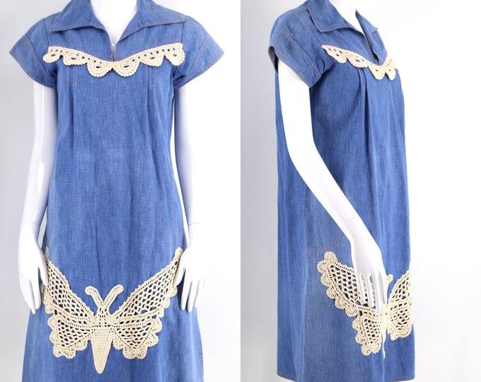 70s denim & crochet A line trapeze dress / vintage 1970s butterfly appliqué boho custom denim kaftan sx m-l