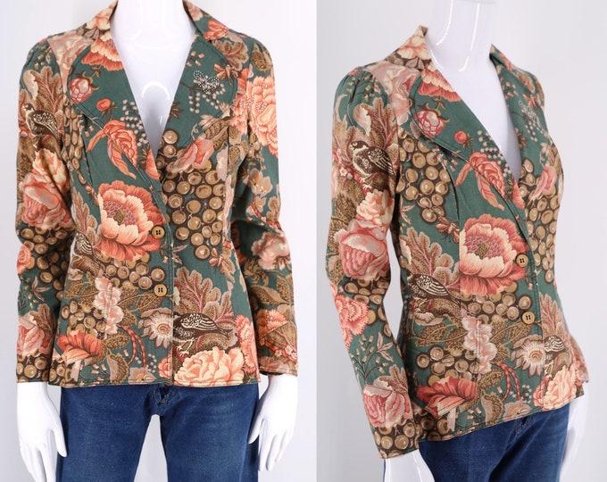 70s Anastasias SF antique chintz print blazer / vintage 1970s cotton brocade tailored jacket sz 6