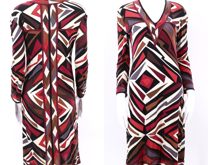 60s EMILIO PUCCI print silk jersey dress M  / 1960s vintage signed print dress 1970s 12