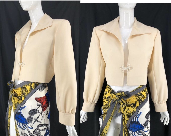 70s YSL Yves Saint Laurent cream bolero jacket 44