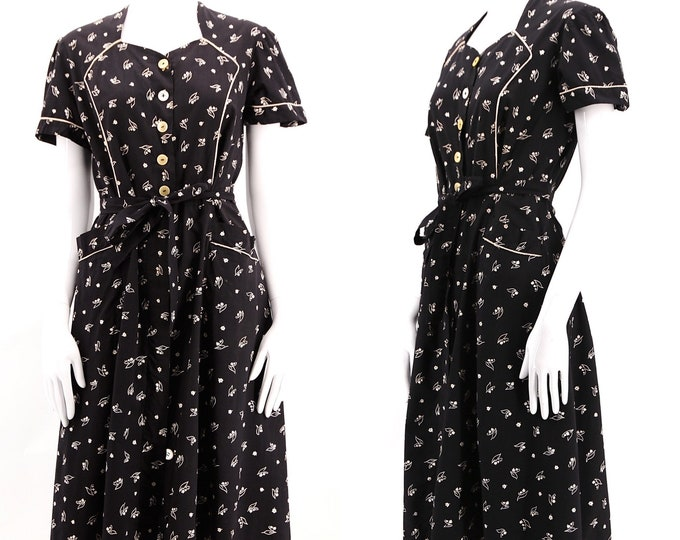 30s cotton calico French work dress size L / vintage black & white floral print 1930s day dress large
