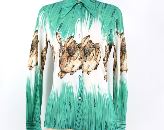 70s rabbit novelty print blouse : fabulous bunny hare drawing on a tailored nylon blouse vintage 1970s size S- M
