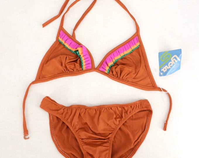 70s copper string bikini w/ colored trim / vintage 1970s bathing suit halter top swimsuit XS / S