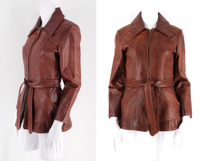70s NATURAL COMFORT vintage leather jacket / whiskey leather stitched zip front soft leather jacket 1970s size 6-7
